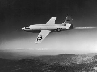 A photograph shows the rocket-powered Bell X-1 supersonic plane during a test flight.