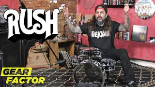 Mike Portnoy plays a tiny drumkit