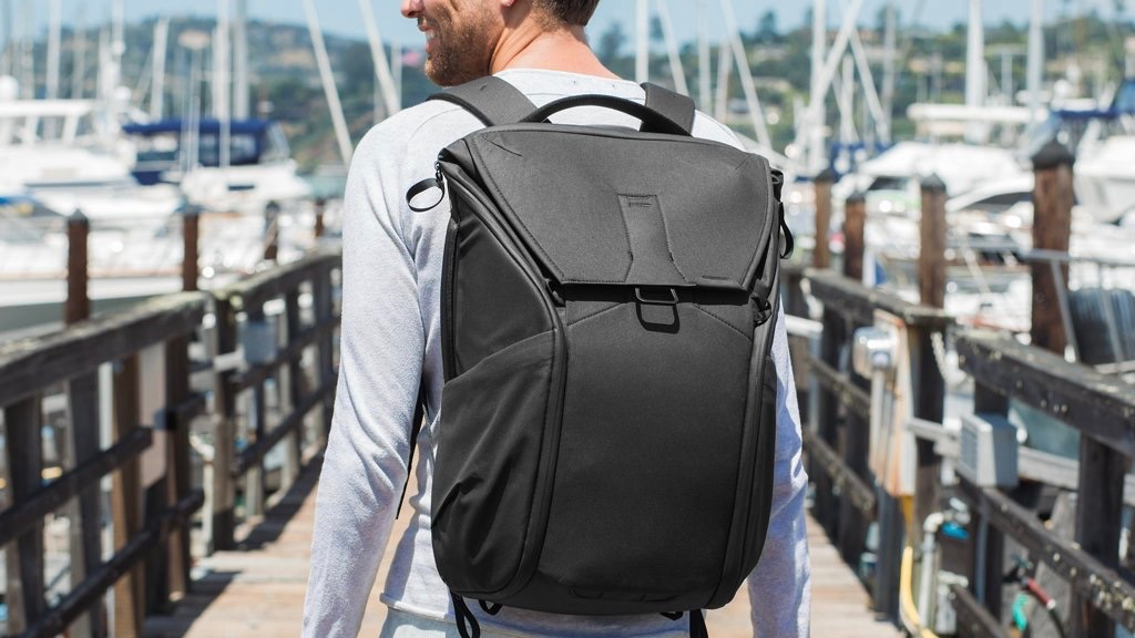 Young man with Peak Design Everyday Backpack