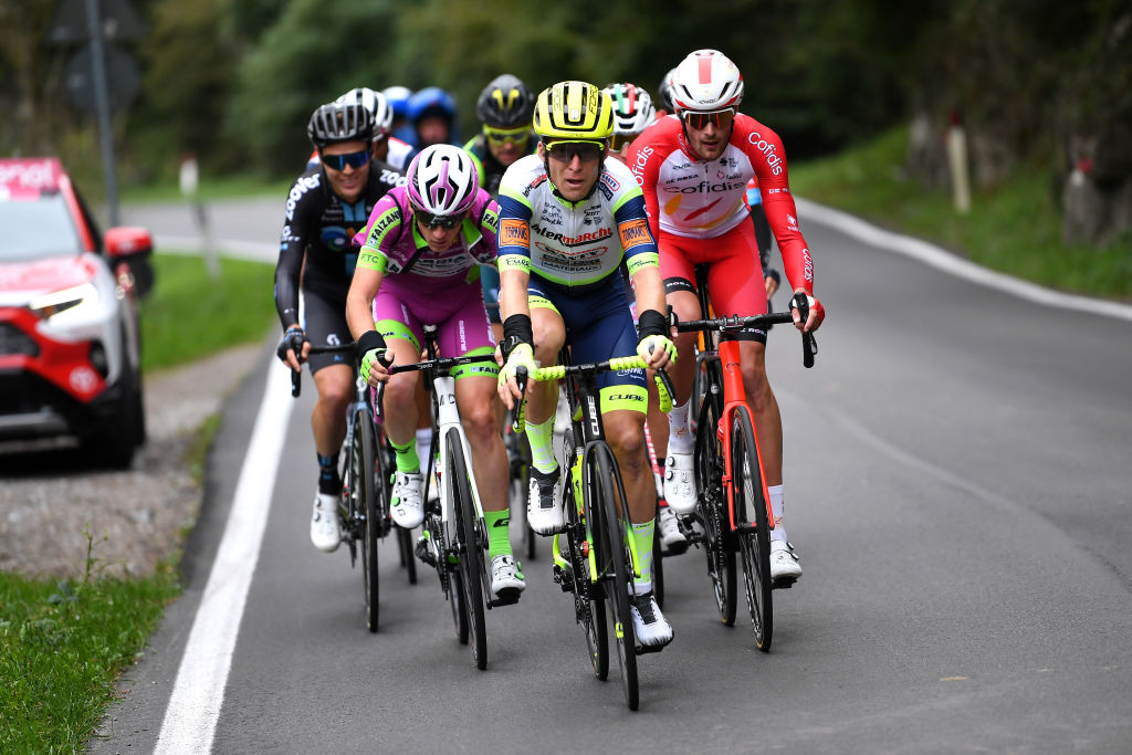 BERGAMO ITALY OCTOBER 09 Jan Bakelants of Belgium and Team Intermarch Wanty Gobert Matriaux competes in the breakaway during the 115th Il Lombardia 2021 a 239km race from Como to Bergamo ilombardia UCIWT on October 09 2021 in Bergamo Italy Photo by Tim de WaeleGetty Images