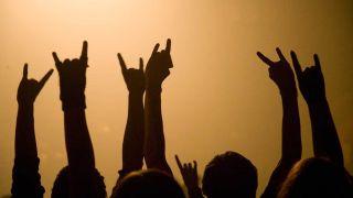 Heavy metal fans horns concert