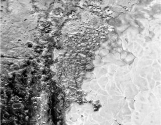 A Photo of Pluto's weird polygon-shaped terrain.