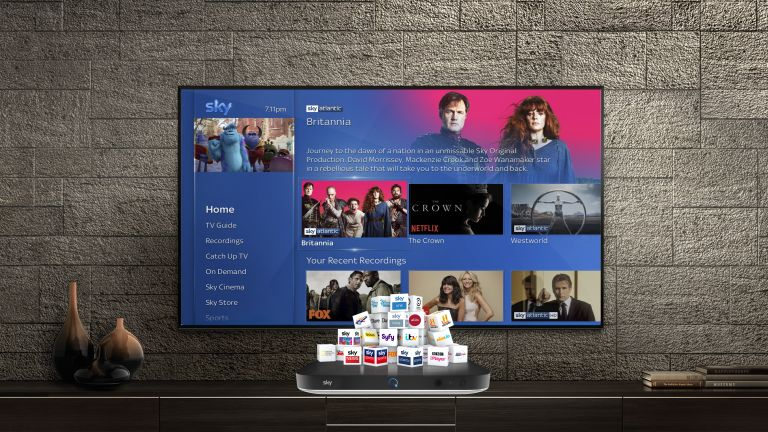 best Sky TV deals: lifestyle image of tv with sky guide showing