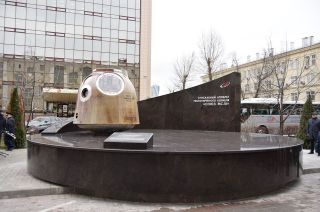 Russia's Soyuz MS-10 descent module, which in 2018 executed an in-flight abort, is now on display as a monument to mission safety at Roscosmos' headquarters in Moscow, Russia.