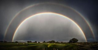A double rainbow photographed on Sep. 1., 2012.
