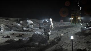 Artist's illustration of NASA Artemis astronauts on the moon.
