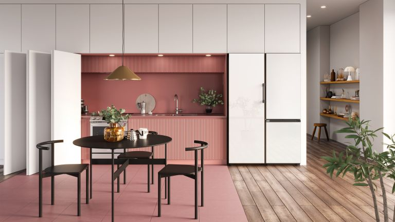 white kitchen with white fridge freezer - samsung
