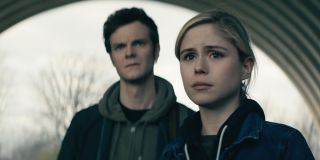Jack Quaid as Hughie Campbell and Erin Moriarty as Annie January in The Boys.