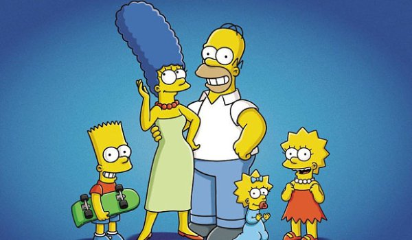 The Simpsons smiling for the camera against a blue background