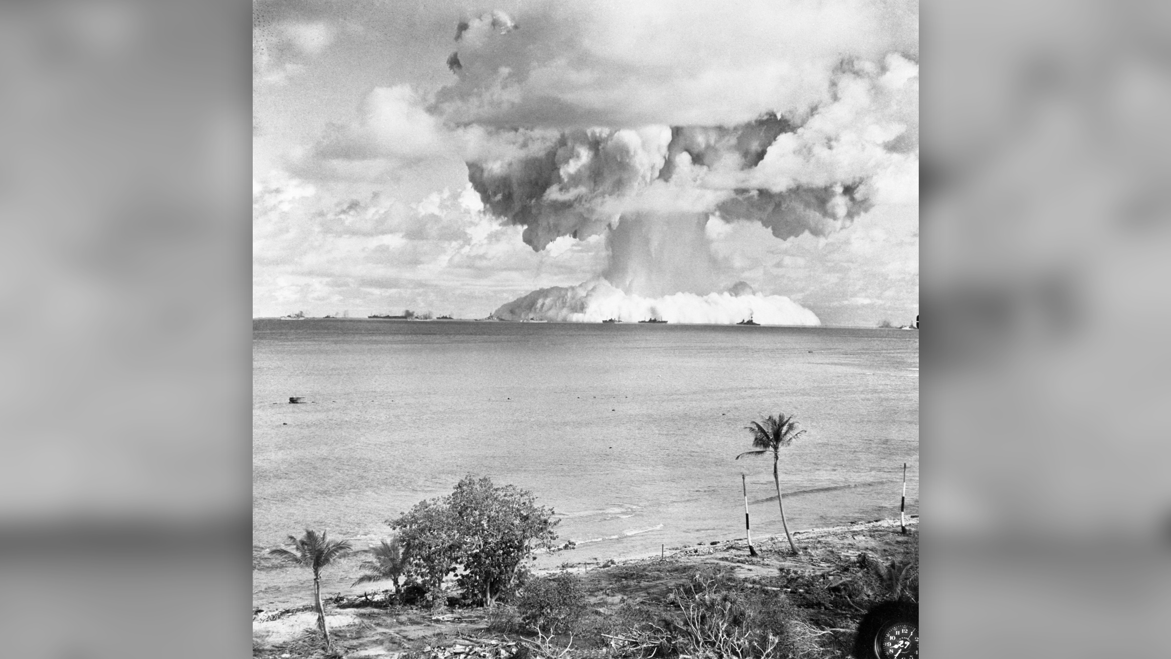 The Baker Day explosion at Bikini Atoll in the Marshall Islands, as recorded by an automatically operated camera on a nearby island. Notice the mushroom cloud forming immediately after the explosion.