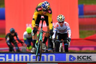 Wout van Aert (Jumbo-Visma) tackles the barriers en route to third place at the opening round of the 2020/21 UCI Cyclo-Cross World Ciphered in Tabor, in the Czech Republic