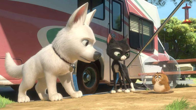 Disney Plus movies: Bolt movie still image with dog, cat and hamster