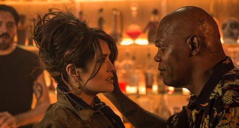 Salma Hayek and Samuel L. Jackson in The Hitman's Wife's Bodyguard.