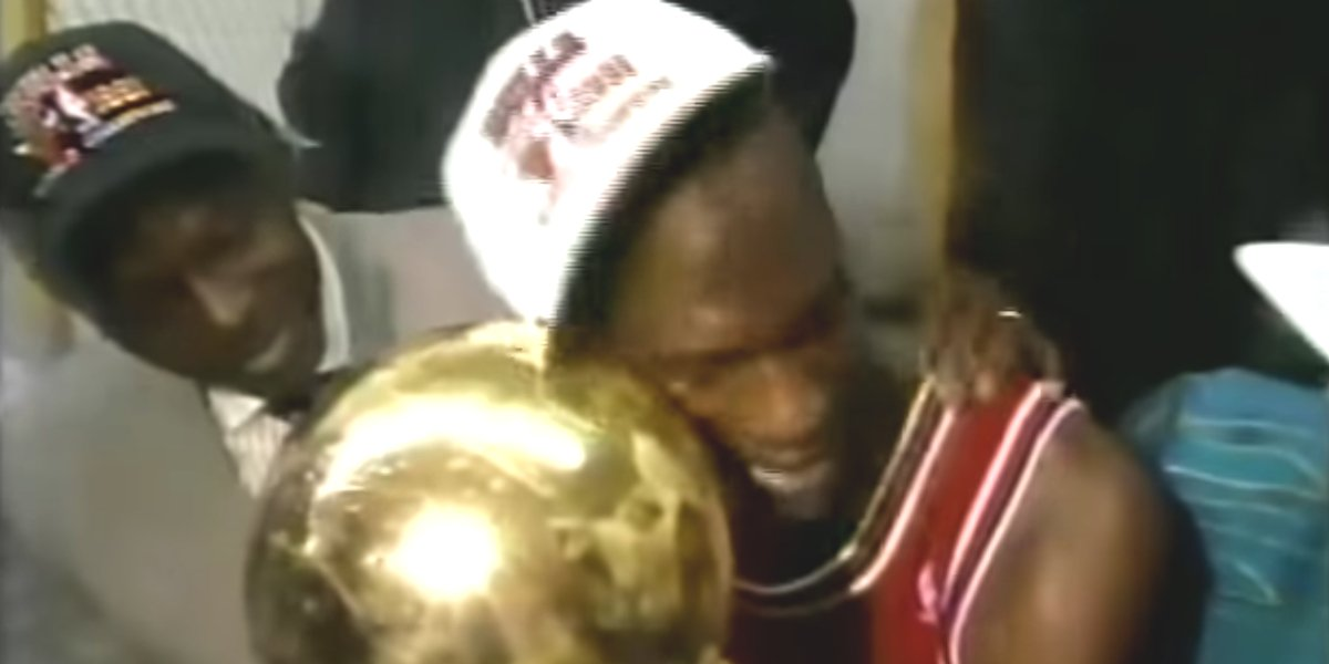 Michael Jordan after winning his first NBA Championship