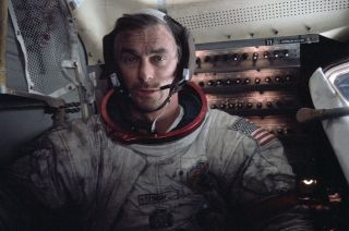 Apollo astronaut Gene Cernan, seen here aboard the lunar module on the moon in 1972, died on Jan. 16, 2017. He was 82.