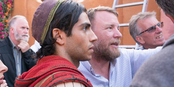 Guy Ritchie and Mena Massoud on the set of Aladdin