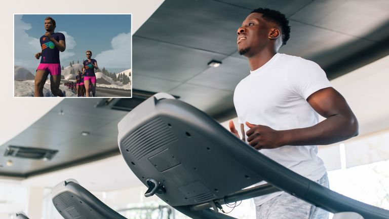 Man running on a treadmill, with an inset for the Zwift for runners virtual app