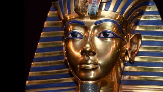The burial mask of Egyptian Pharaoh Tutankhamun, shown during a museum exhibit in Munich, Germany in 2015.