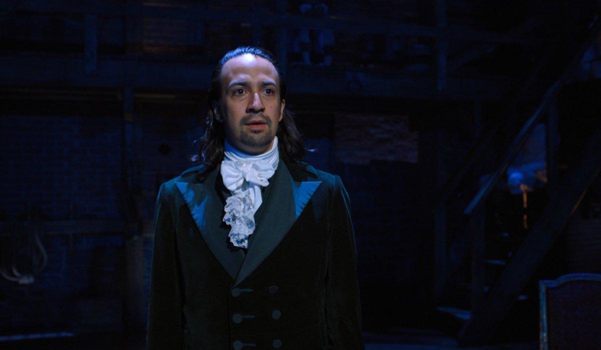 Hamilton Lin-Manuel Miranda on stage looking weary