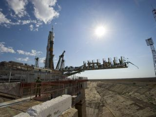 The Soyuz TMA-02M spacecraft is seen at the launch pad after being raised into vertical position on June 5, 2011, at the Baikonour Cosmodrome in Kazakhstan. The launch of the Soyuz spacecraft with Expedition 28 Soyuz commander Sergei Volkov of Russia, NAS