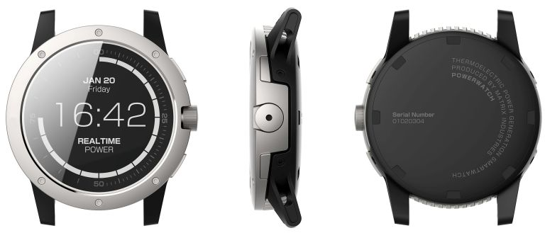 Matrix PowerWatch is kept charged by your body's heat (even when sitting down on a cold day)