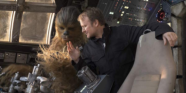 Rian Johnson with Chewbacca on Star Wars: The Last Jedi set