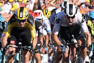 Sunweb's Cees Bol (right) has to settle for second place behind Jumbo-Visma's Wout van Aert (left) on stage 5 of the 2020 Tour de France in Privas