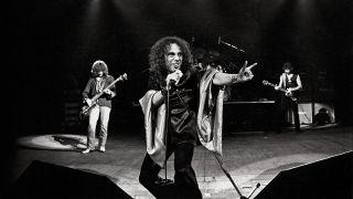 A photograph of Ronnie James Dio with Black Sabbath