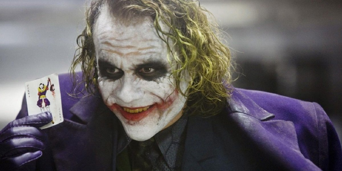Heath Ledger in his Oscar-winning performance as the Joker in The Dark Knight