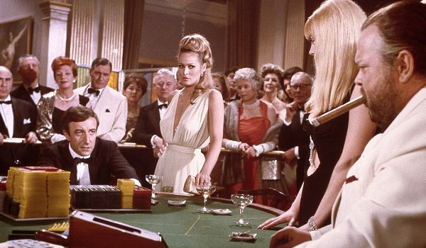 Casino Royale Peter Sellars Orson Welles Bond and Le Chiffre at the Baccarat table