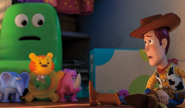 Toy Story 4 Chairol Burnett, Melephant Brooks, Bitey White, and Carl Reineroceros looking at Woody w