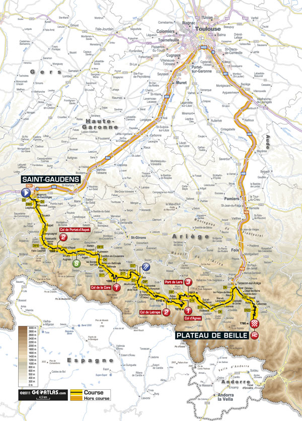 Stage 14 map, Tour de France 2011