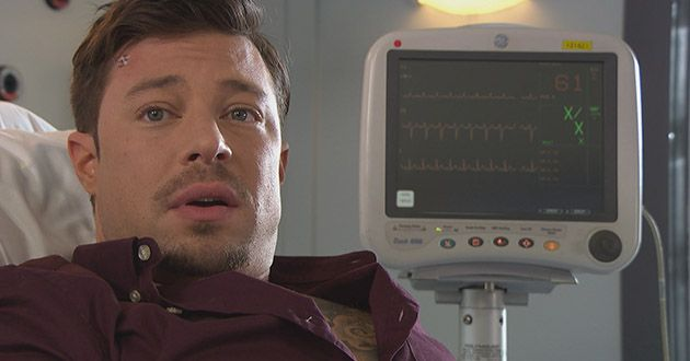 After Ryan Knight collapses, Tegan Lomax decides as a bit of fun to use the heart monitor as a lie detector, what will she find out about Ryan Knight in Hollyoaks.