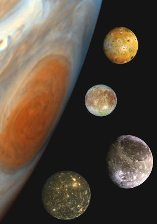 Jupiter's and four moons