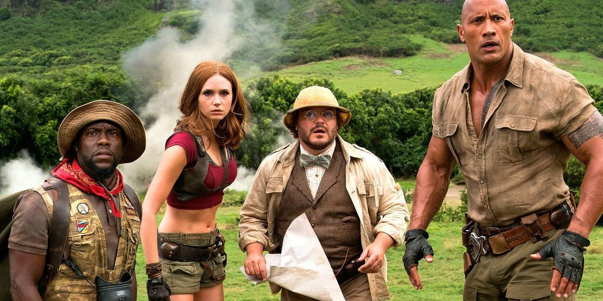 Kevin Hart, Jack Black, Dwayne Johnson, and Karen Gillan in Jumanji