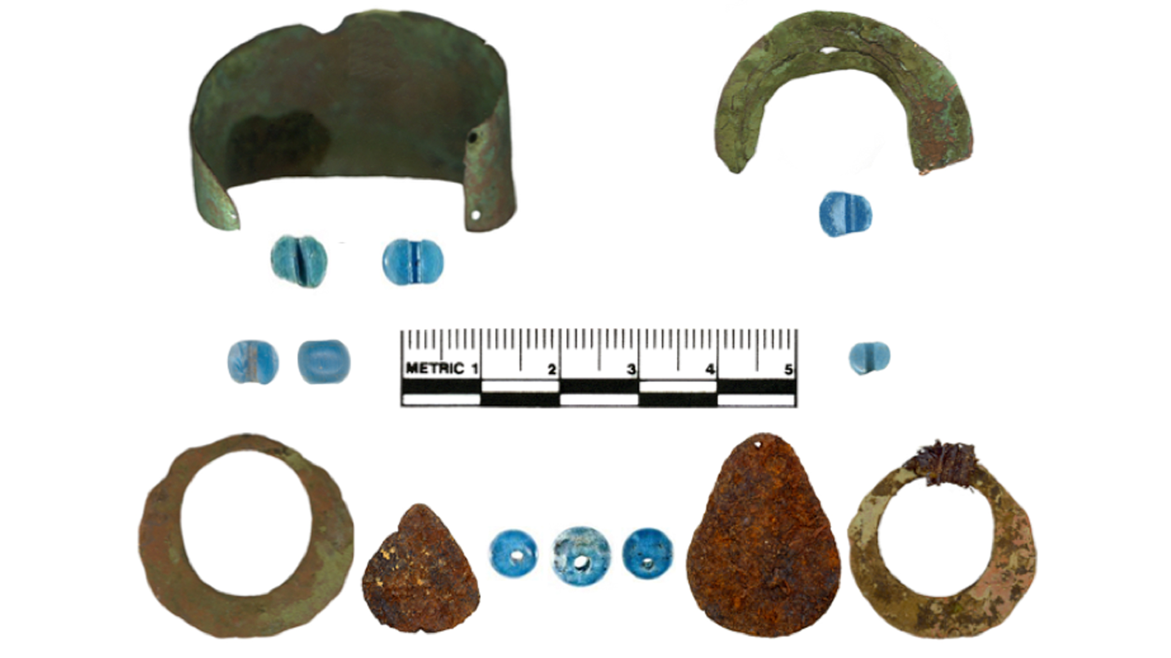 Artifacts found at Indigenous Alaskan sites include glass blue beads, copper bracelets and bangles, and iron pendants.