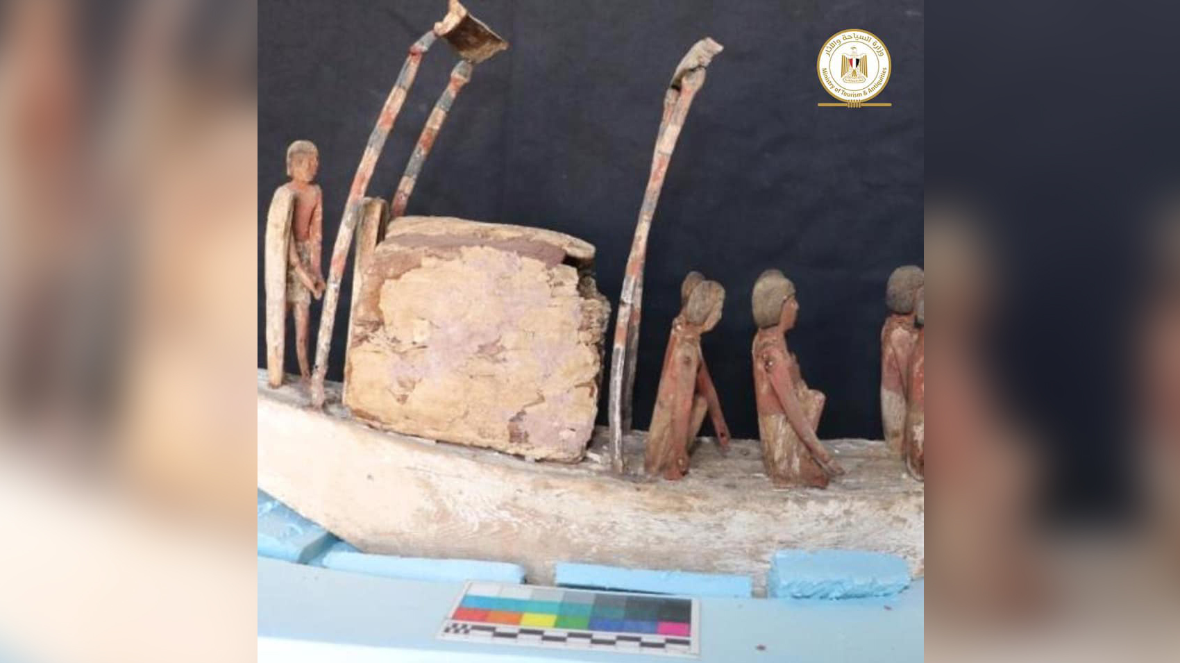 Among the goods found in the burial shafts is this boat with rowers.