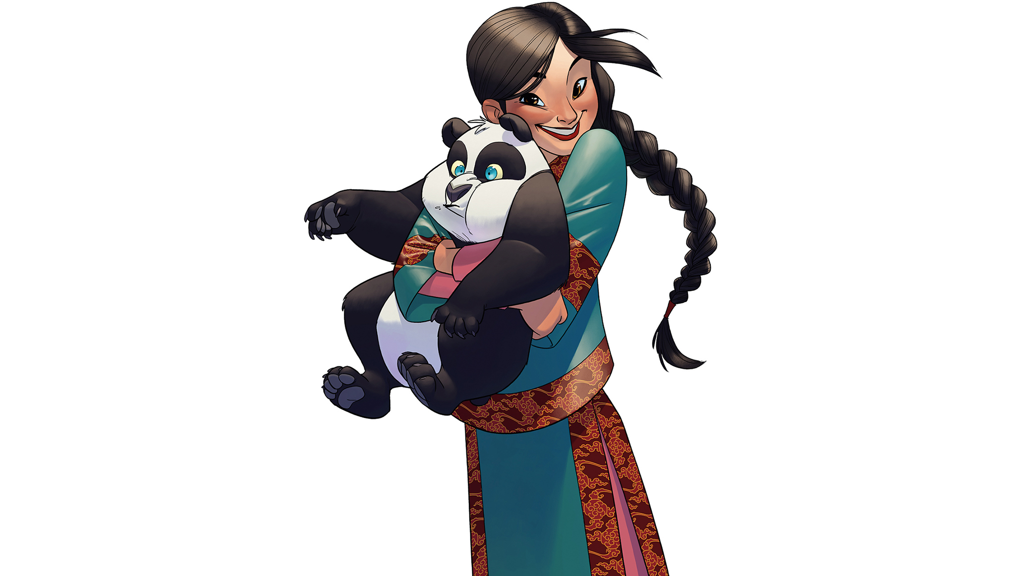 Girl with panda in colour