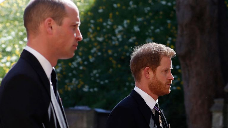 Prince William and Prince Harry at Prince Philip's funeral