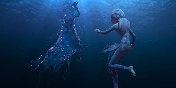 Elsa sees water horse in Frozen 2 trailer.