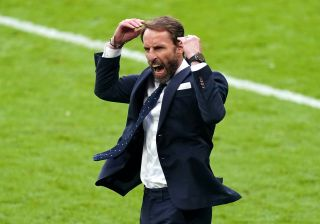 England manager Gareth Southgate celebrates victory after the final whistle