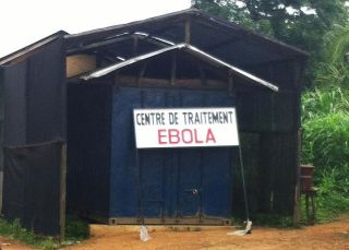 A 2014 photograph of a West African Ebola treatment center.