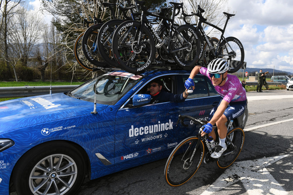 PRATI DI TIVO ITALY MARCH 13 Davide Ballerini of Italy and Team Deceuninck QuickStep Purple Sprint Jersey Davide Bramati of Italy Sports Director during the 56th TirrenoAdriatico 2021 Stage 4 a 148km stage from Terni to Prati di Tivo 1450m Car Tacx bottle Feeding TirrenoAdriatico on March 13 2021 in Prati di Tivo Italy Photo by Tim de WaeleGetty Images