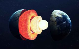 An illustration of Earth's layers, including the mantle and inner core.