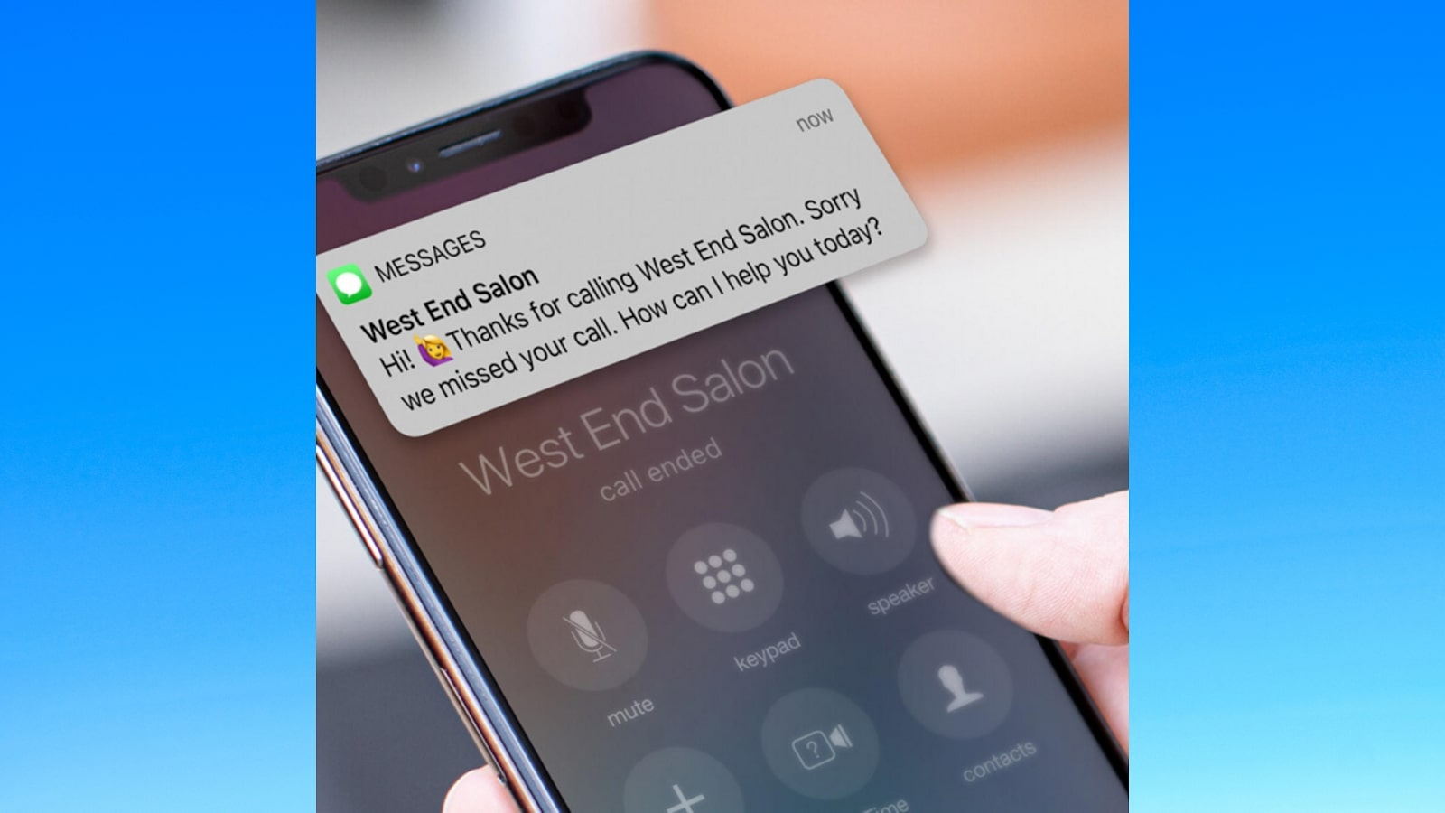 Booker POS messaging system on an iphone