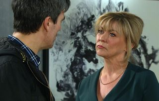 Cain confronts Kim in Emmerdale