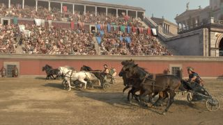 RACE TO THE DEATH: ROME'S CHARIOTEERS. A chariot race in full swing