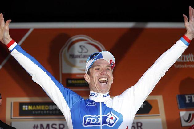 Arnaud Démare on the podium of Milan-San Remo 2016
