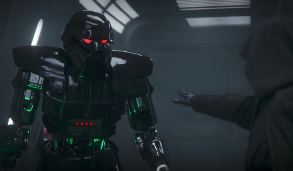 the mandalorian luke skywalker crushing a dark trooper