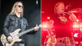 [L-R] Jerry Cantrell and Axl Rose